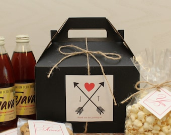 Set of 6 - Out of Town Guest Box // Wedding Welcome Box // Wedding Welcome Bag // Out of Town Guest Bag // Arrow Label