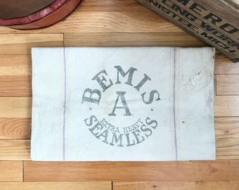 Vintage Seed Bag - Bemis A Extra Heavy Seamless - Antique Feed Sack - Grain Bags Advertising Sacks - Cloth Canvas Material - Farmhouse Decor