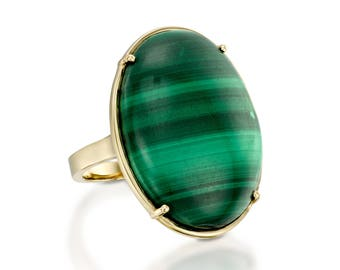 Malachite ring-Natural Malachite Ring-Birthday present-Anniversary gift-Statement ring-Gemstone Ring-Yellow gold ring-Boho Ring-Custom Rings