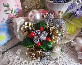 Vintage Spun Cotton and Chenille Corsage Pick-Pin-Tinsel-Pine cones-Glass Balls