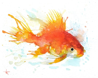 "Golden Fish - ORIGINAL Watercolor - 4.5x5.5"" - Fish, UNFRAMED, Painting by Bruno M Carlos"