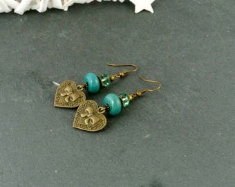 "Earrings ""Love"" emerald green and bronze metal"