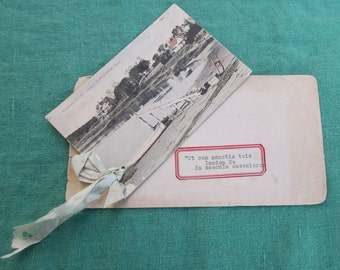 Antique photo postcard with Latin message Wychmere Bay Harwichport, Mass. tinted