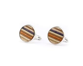 Orange and Purple Wood Cufflinks - Recycled Skateboard Cufflinks - Womens Cufflinks - Wedding Gift - Wooden Cufflinks - Groomsmen Gift
