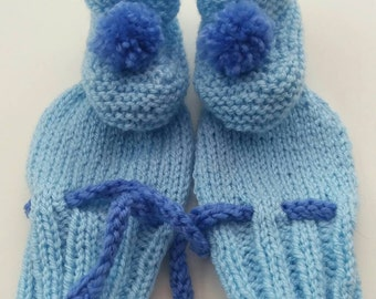 Bootie and mitten set, new baby, baby gift, special occasion, pom pom booties, pram shoes, scratch mitts, new baby gift set, baby shower