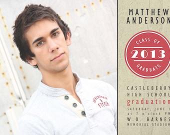 Senior Graduation Announcement 2014 - digital invitation, boy, modern, red, photo