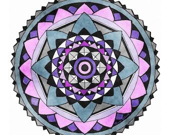 Hand Drawn And Hand Painted Watercolor Meditation Mandala In Purple Radial Design