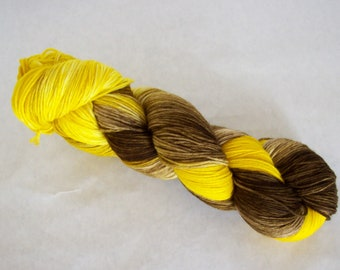 Hand Dyed Yarn/Superwash merino/nylon/Sock Yarn/Buttercup