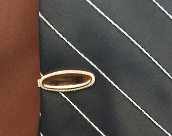 Vintage Gold Notch Clip Tie Bar