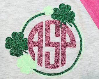 Girl's St. Patrick's Day Circle/Clover Monogram Tee