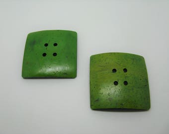 Set of 2 large buttons coconut 5 colors-green ref 7 cm square