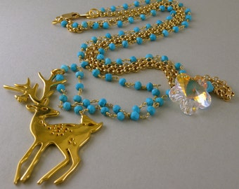 Gold Deer and Swarovski Snowflake Necklace with Gold and Turquoise Stone Chain With Matching Earrings