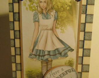 Handmade Decoupage Alice in Wonderland Inspired Birthday Card - Alice Blue