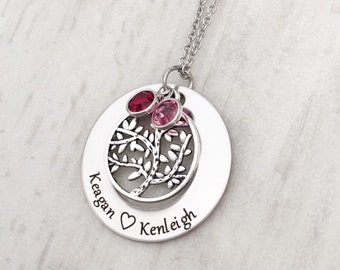 Mother's Birthstone Necklace - Personalized Mother's Day Gift for Her - Tree of Life Necklace with Children's Names