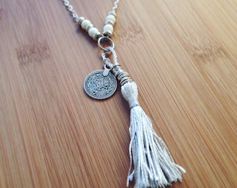 Bohemian beaded silver coins chains necklace