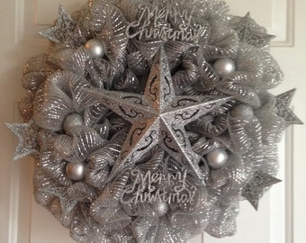 Inventory Closeout! Price Reduced,Silver Star Christmas Wreath, Silver Wreath, Christmas Wreath, Christmas Decoration, Bling Wreath