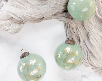 Mint Green Christmas Ornament with Gold Lettering for the Holidays