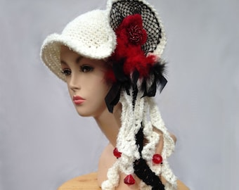Unique designer hat white hat art to wear creative crochet hat for women statement freeform hat millinery cloche bucket dressy winter hat