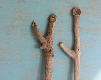 Set of 2 Unique driftwood sculptures for Jewelry Display , Beach Decor and Art Supply U2