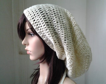 Handmade Crochet Long Plain Single Color Slouch - Vanilla Cream LS20 - made to order