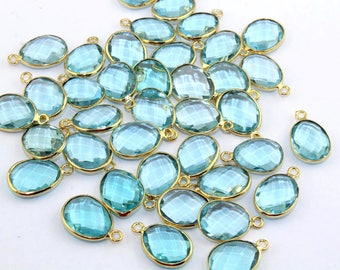 LOT OF Egg Shape Blue Topaz 12x18 mm Single Bail Gold Plated Bezel Connectors Jewelry Making Supplies