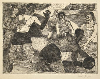 Irving Guyer WPA Original Pencil Signed Etching Night Basketball 1938 New York Unmatted, Unframed
