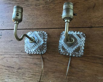 WORKING Cut Glass Wall Sconces - Set Of 2 Vintage Crystal Glass Wall Sconces