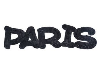 Shield patch PARIS in black sequins