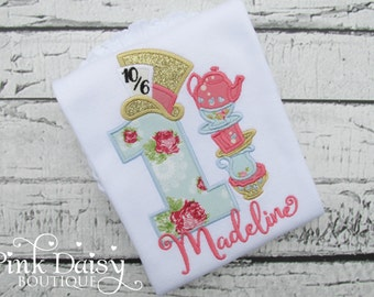 Alice in ONEderland Birthday Shirt - Alice in Wonderland - Tea Party - Blue Coral Gold - Teacups - Mad Hatter - Tea for TWO - First Birthday