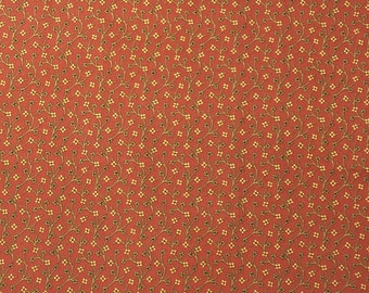 Floral Cotton Fabric, Fabric By the Yard, Quilting Fabric, Apparel Fabric, Floral Print Fabric, Brick Color