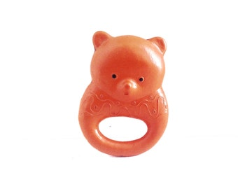 Rattle orange BEAR made of celluloid