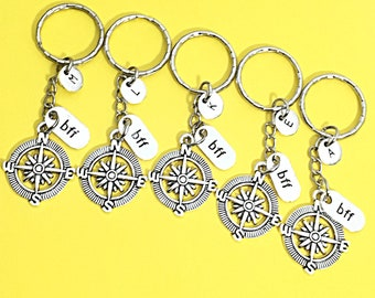 Custom Best friends keychain - set of five, bff charm, 5 bff keychain, set of 5 best friend,always keychain, friends forever, infinity,gift