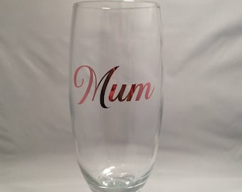 X 10 mum ROSE GOLD metallic vinyl stickers for flutes / wine glasses mothers day Mam Mom