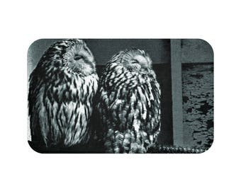 Ural Owl Black And White Print Bath Mat
