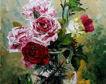 Roses(oil painting, 50x70cm, ready to hang, modern art, impressionistic, paper)