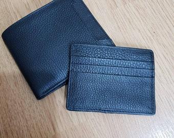 Mens Genuine Leather Bifold  wallet purse business credit card holder.