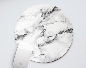 White Marble Mouse Pad Office Desk Accessories Mousepad White Mouse Pad Rectangular Mouse Mat Personalized Mouse Pad Round Mousemat PP5008