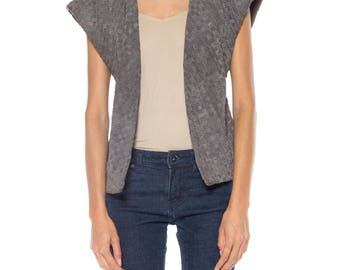 Gray Woven Leather Vest Size: 4