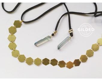 Hex Wrap — aura quartz, hand-linked chain, hexagon, dark chocolate brown suede choker headband necklace beacelet bolo nashville boho