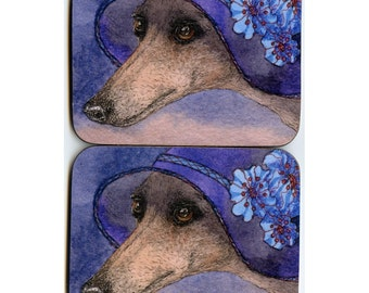 2 x whippet greyhound mystery coasters