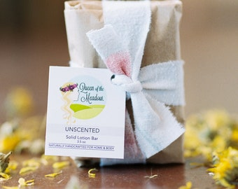 UNSCENTED lotion bar, organic lotion, hand lotion, best lotion, natural lotion, body lotion, handmade by queen of the meadow, 3.5 oz