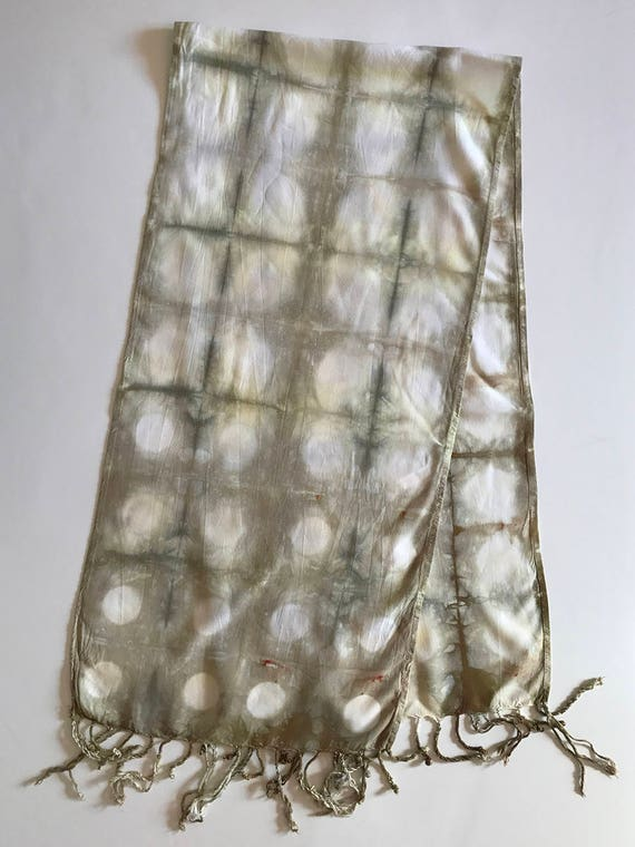 Light Green Itajime Scarf with Fringe
