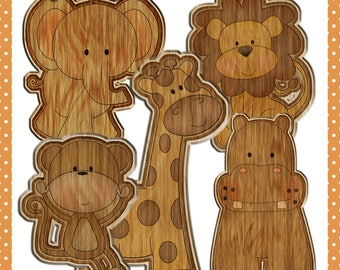 Baby Jungle Animals in Wood - Images for use in Scrapbook and Paper Crafts
