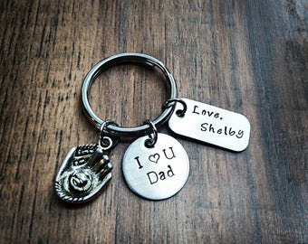 Hand Stamped Personalized I love you Dad Keychain - Fathers day gift - Dad Gift - Baseball keychain - Baseball Dad Gift