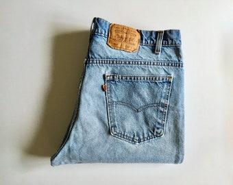 Vintage Men's 80's Levi's 517, Jeans, Light Wash, Denim, Straight Leg, Orange Tab (W38)