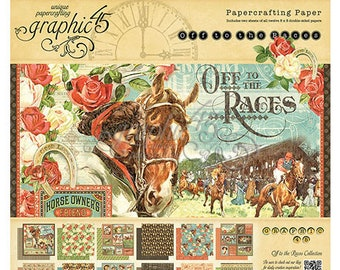 Graphic 45 - Off To The Races Paper Pad 8 x 8