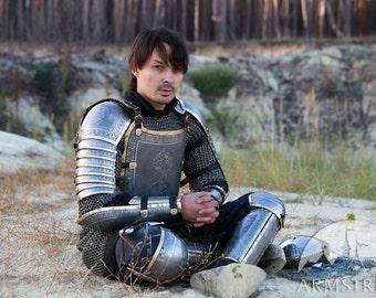 Medieval Armor Costume, kit: cuirass, legs, pauldrons, bazubands; mens armour