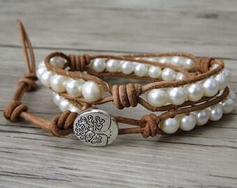 Pearl bracelet pearl beaded bracelet leather wrap bracelet fresh water pearl bracelet leather pearl bracelet boho wrap bracelet  SL-0239