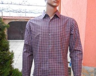 20%ON SALE Plaid Men's Shirt, Long Sleeve Shirt, Brown Purple Plaid Shirt, Men's Vintage Plaid Shirt