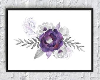 Violet flower watercolor print, watercolor flowers, floral watercolor, art print, wall art print, printable, floral print, watercolor poster
